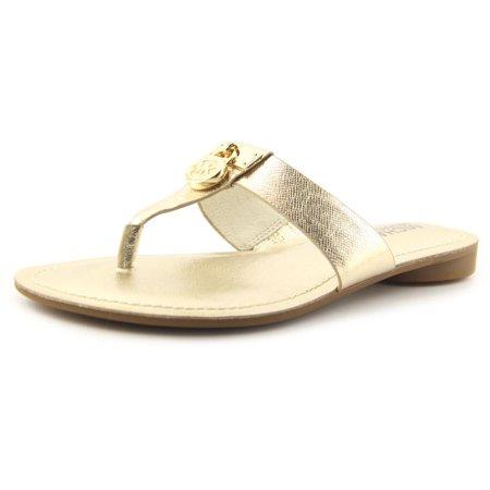 09926ddcf959 Michael Michael Kors - Michael Michael Kors Hamilton Flat Women Open Toe  Leather Gold Thong Sandal - Walmart.com