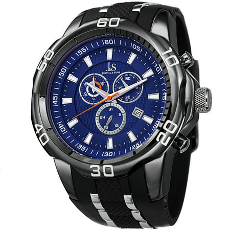 Joshua & Sons Bold Swiss Quartz Chronograph Date Silicone Strap Watch Day Date Wenger Swiss Watch