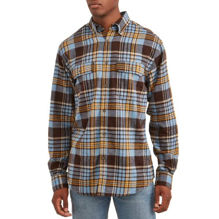 George Men's and Big & Tall Long Sleeve Flannel Shirt, up to size (Big Check Flannel)