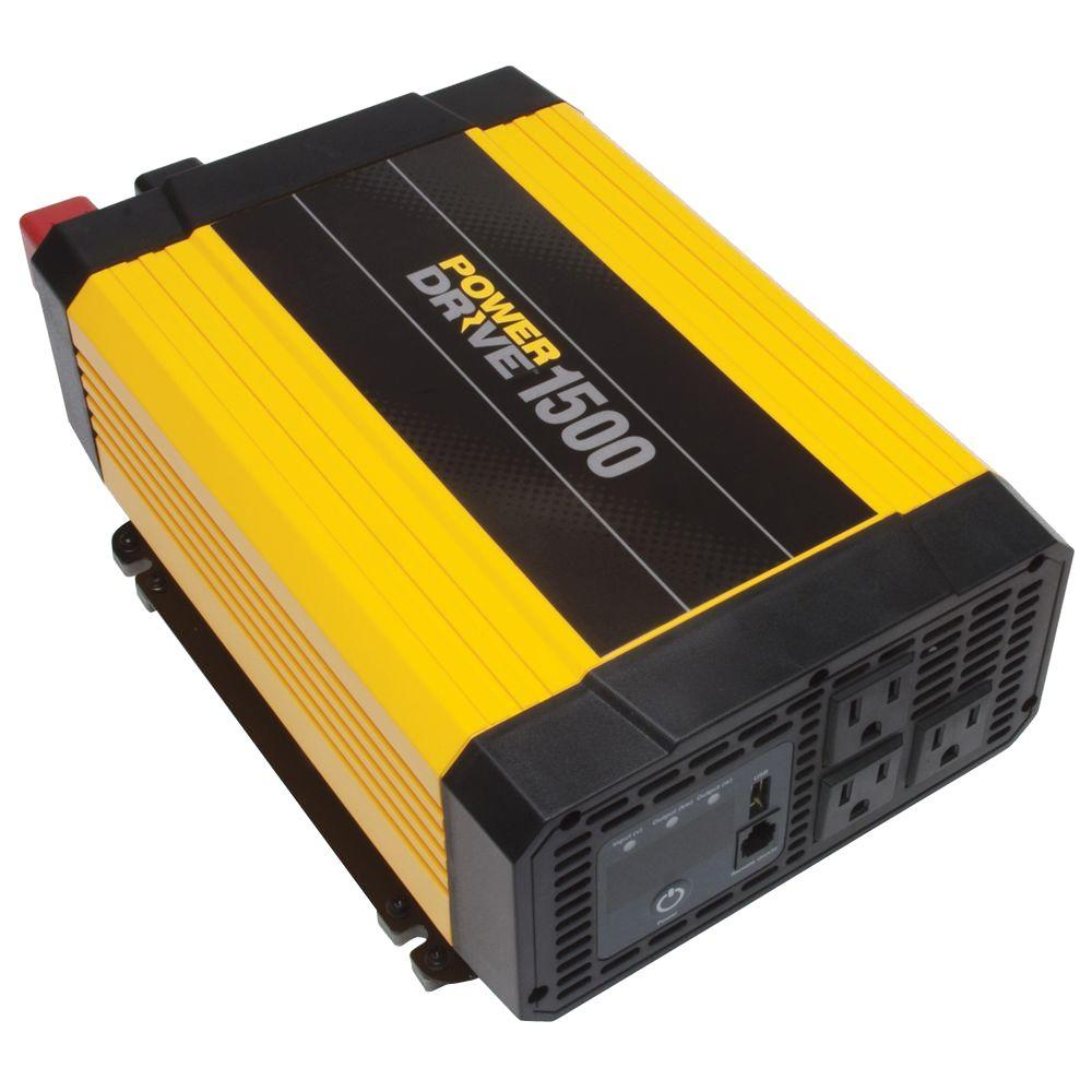 POWERDRIVE 1500 Watt DC to AC Power Inverter with USB Port & 3 AC Outlets  RPPD1500 - Walmart.com