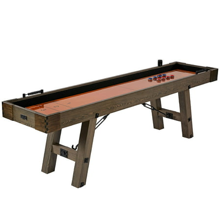 Barrington 9' Sutter Collection Shuffleboard Table, Rustic Furniture, Brown
