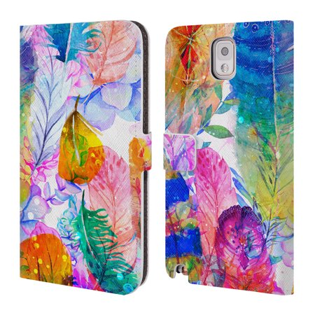OFFICIAL HAROULITA FEATHERS LEATHER BOOK WALLET CASE COVER FOR SAMSUNG PHONES 2