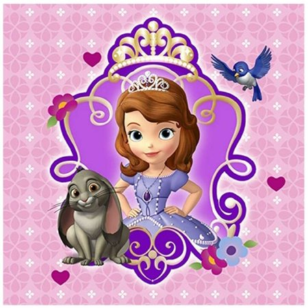 Napkins - Sofia the First - Small - Paper - 2Ply - 16ct - 10 X 10 in - First Communion Plates Napkins