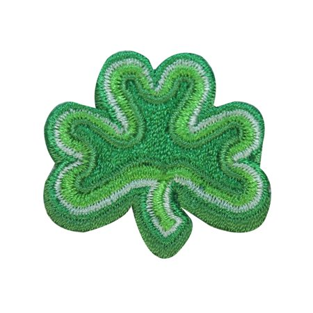 ID 3309A Three Leaf Clover Patch St Patrick Lucky Embroidered Iron On Applique - St Patricks Crafts