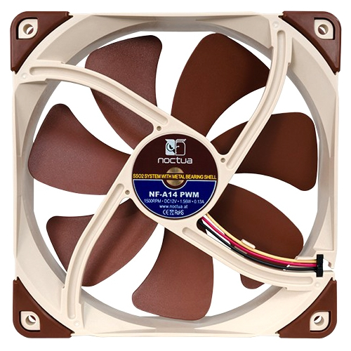 Noctua NF-A14 PWM Noctua NF-A14 PWM Cooling Fan - 1 x 140 mm - 1500 rpm - SSO2 Bearing - Silicon, Metal