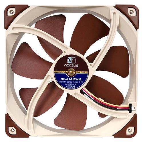 Noctua NF-A14 PWM Noctua NF-A14 PWM Cooling Fan - 1 x 140 mm - 1500 rpm - SSO2 Bearing - Silicon, Metal