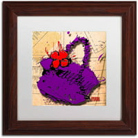 "Trademark Fine Art ""Flower Purse Red on Purple"" Canvas Art by Roderick Stevens, White Matte, Wood Frame"