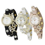 Geneva Platinum Women's Studded Wrap Watch with Case Pink