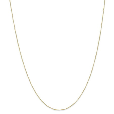 14k Yellow Gold .5 Mm Carded Link Curb Chain Necklace 18 Inch Pendant Charm Fine Jewelry For Women Gift Set