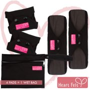 Sanitary Reusable Cloth Menstrual Pads by Heart Felt. Black 4 Pack Washable Natural Organic Napkins with Charcoal Absorbency Layer. Overnight Long Panty Liners Comfort Support and Incontinence Wet Bag