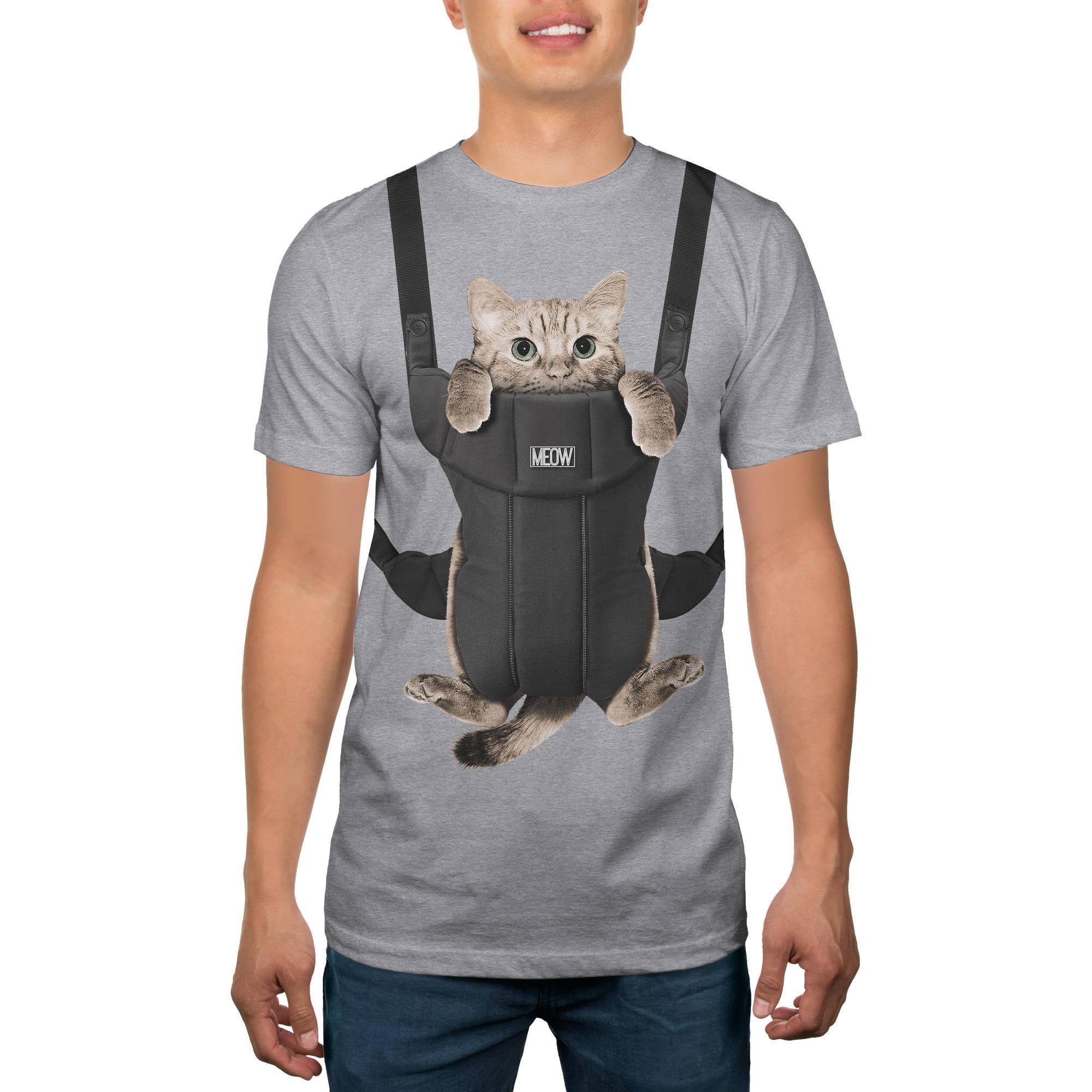 Cat in Carrier Men's Humor Graphic Tee