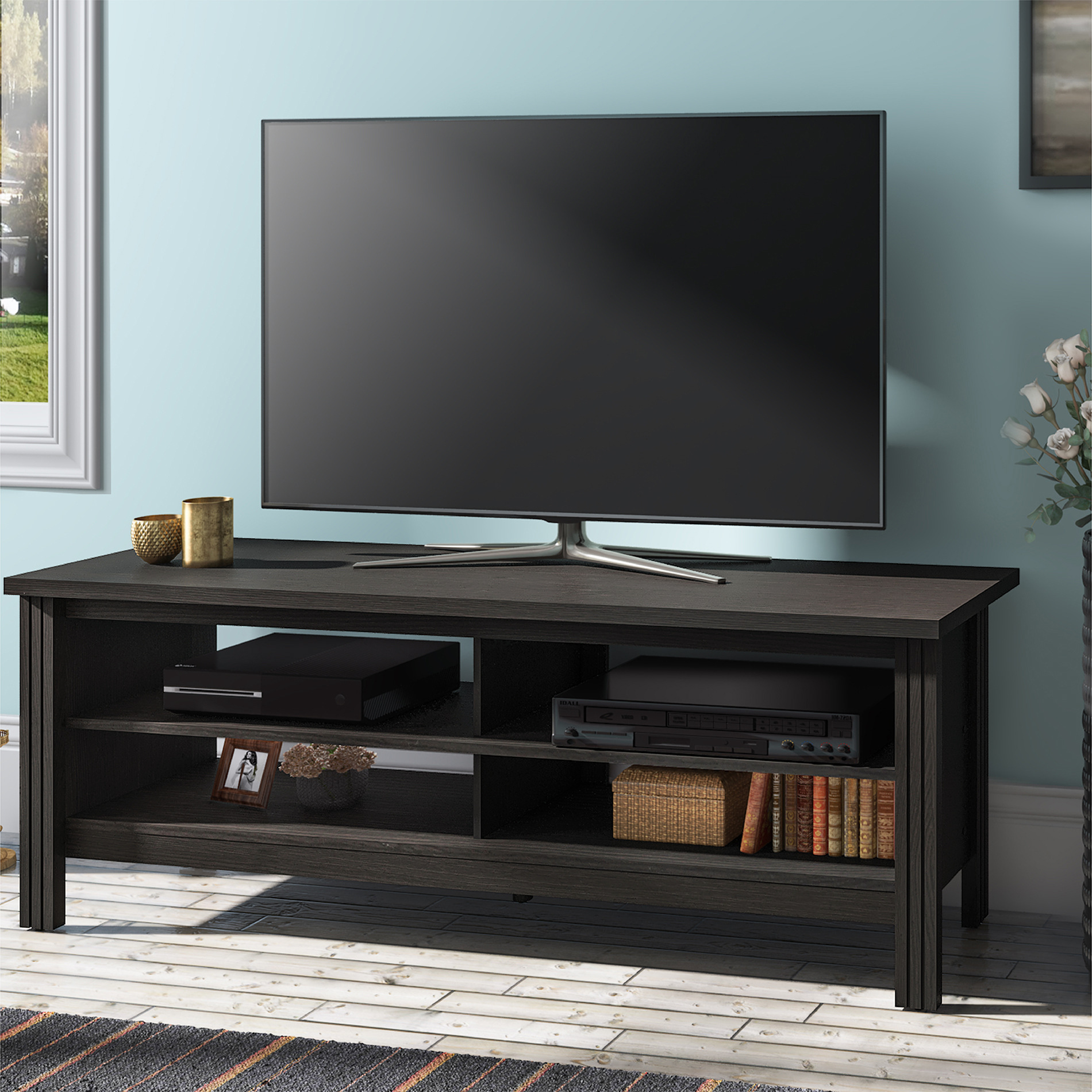 Wampat Farmhouse Wood TV Stand for 65 inch Flat Screen,Black