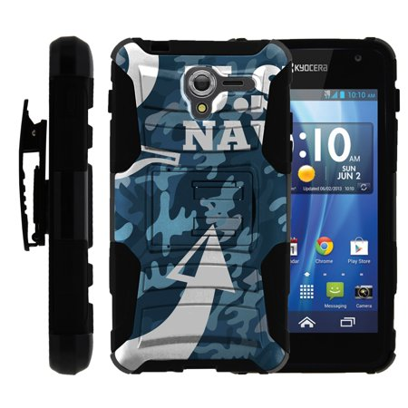TurtleArmor ® | For Kyocera Hydro View | Hydro Reach | Hydro Shore [Hyper Shock] Hybrid Dual Layer Armor Holster Belt Clip Case Kickstand - U.S. Navy Camo