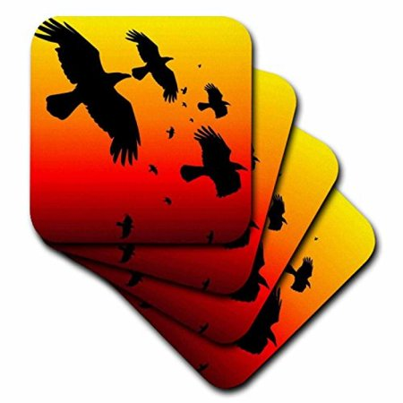 3dRose Ravens On A Red Sky- animal, bird, birds, crow, halloween, myth, mythological, mythology, raven, Ceramic Tile Coasters, set of 4