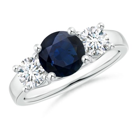 September Birthstone Ring - Classic Round Sapphire and Diamond Three Stone Ring in Silver (7mm Blue Sapphire) - SR0226SD-SL-A-7-10.5