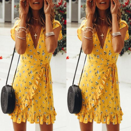 Trendy Women dress V-neck short sleeve Flower print Sexy Summer Bandage Bodycon Party Casual Polyester Mini Dresses one pieces