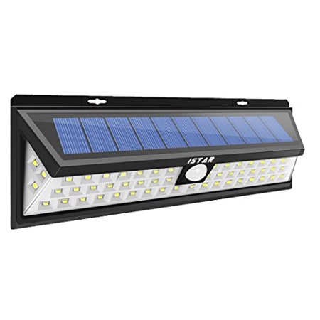 Istar Super Bright Solar Lights 54 Led Solar Power Outdoor Motion Sensor Light With Led On Both Side Wireless Waterproof For Patio  Deck  Yard  Garden  Driveway  Outside Wall W  Wide Angle Sensor