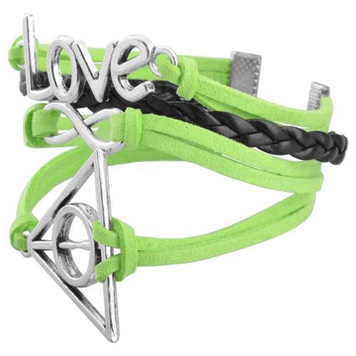 Zodaca Fashion Leather Cute Infinity Charm Bracelet Jewelry Silver lots Green/Black Love