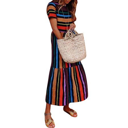 13424bbad456 Women's Summer Boho Casual Colorful Stripes Long Maxi Evening Party Cocktail  Holiday Beach Dress Sundress