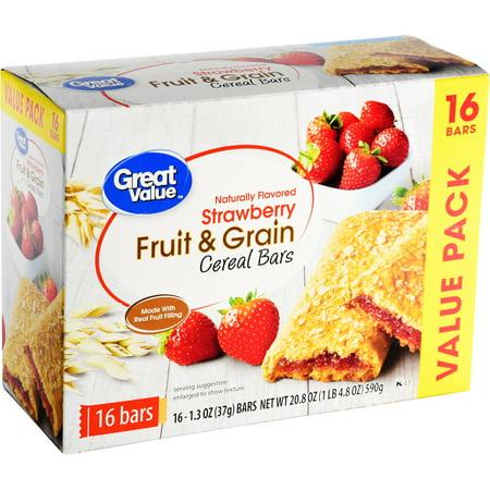 Great Value Fruit & Grain Bars, Strawberry, 1.3 oz, 16 Count