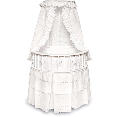 Badger Basket White Elegance Round Baby Bassinet, White Eyelet