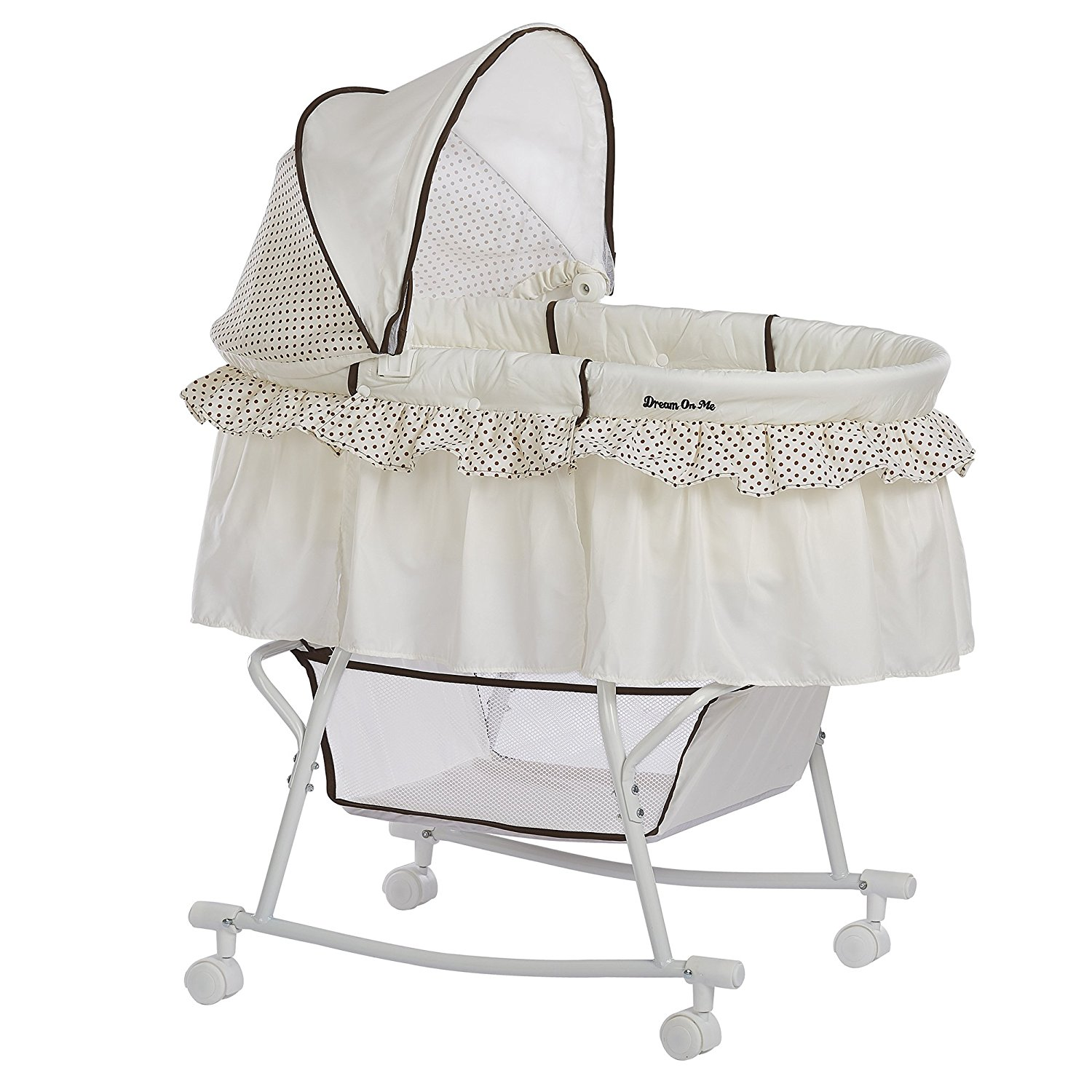 Lacy Portable 2-in-1 Bassinet, Spacious bassinet with hooded locking wheels By Dream On Me