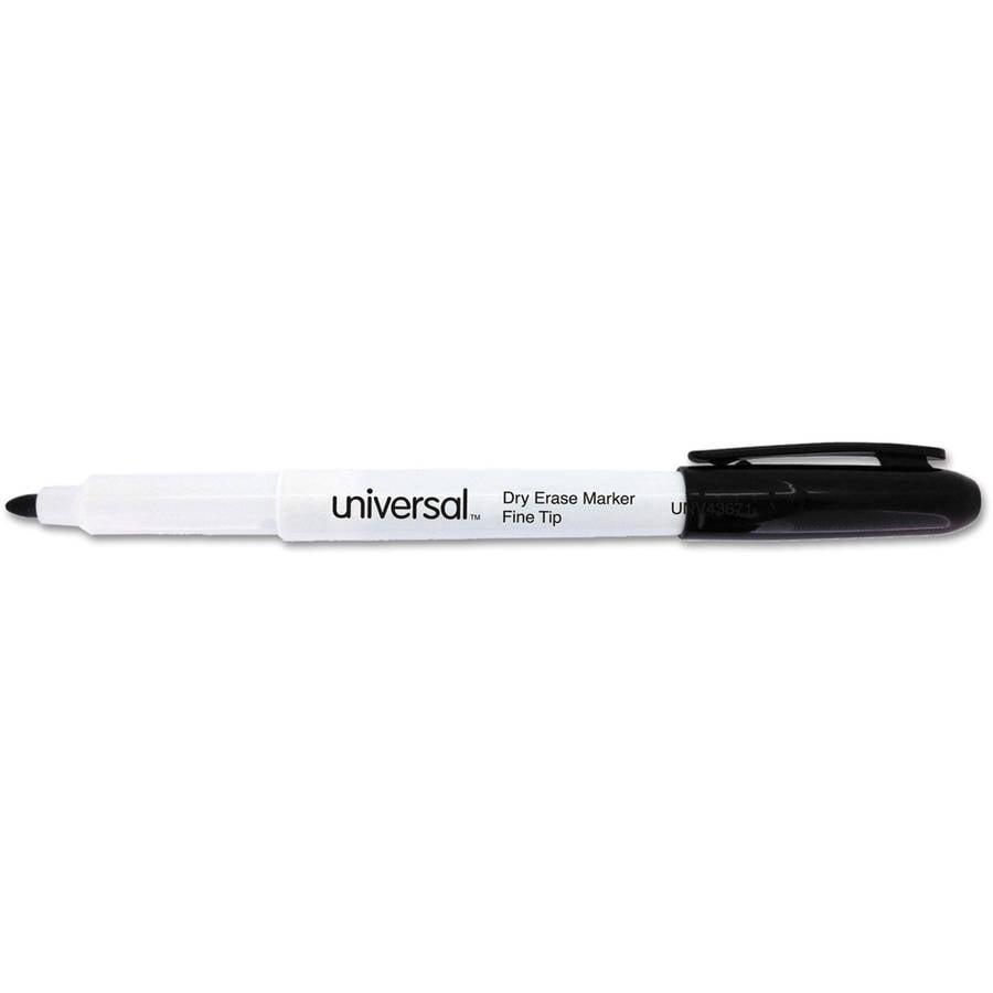 Universal Pen Style Dry Erase Marker, Fine Tip, Black, Dozen