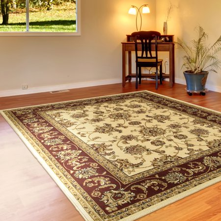 Grace Traditional Jacobean Warm Floral Border Ivory / Red Rectangle 9 ft. x 12 ft. Olefin Machine Made Turkey Persian Transitional Traditional Plush Indoor Area Rug