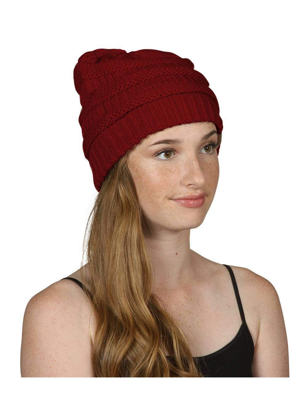 Thick Knit Beanie Cap Hat - Burgundy 121db46cff7d