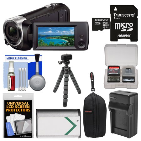 Sony Handycam HDR-CX440 8GB Wi-Fi 1080p HD Video Camera Camcorder with 32GB Card + Case + Battery & Charger + Flex Tripod + Kit