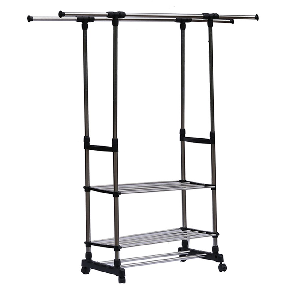 High Quality Heavy Duty Double Rail Adjustable Telescopic Rolling Clothing  And Garment Rack Portable Hanger On