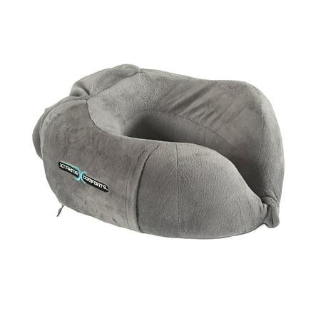Contour Pocket - Memory Foam Travel Neck Support Pillow, Cervical Contour Design, Soft Cotton Cover, Side Pocket - by Xtreme Comforts