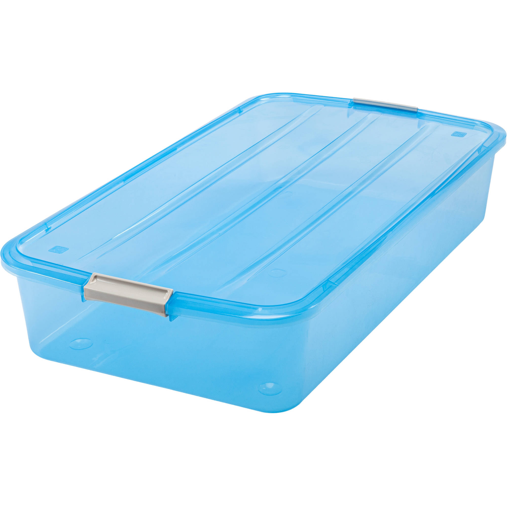 IRIS 50 Qt. Underbed Buckle Up Storage Box, Blue Set of 6