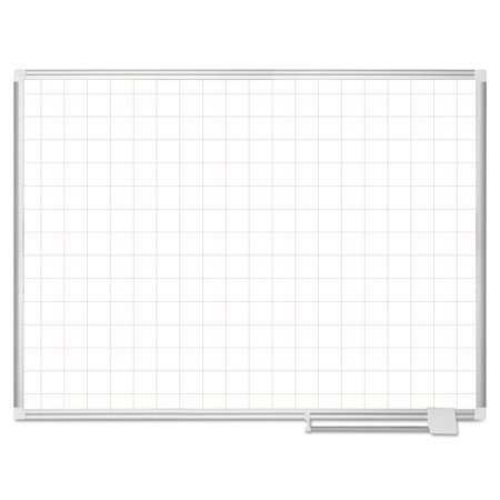 Plus Magnetic Total Erase Porcelain - Platinum Plus Magnetic Porcelain Dry Erase Board, 2 X 2 Grid, 48 X 36, Aluminum
