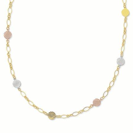14K Tri Color Gold 9 MM Flat Disc Necklace, 18