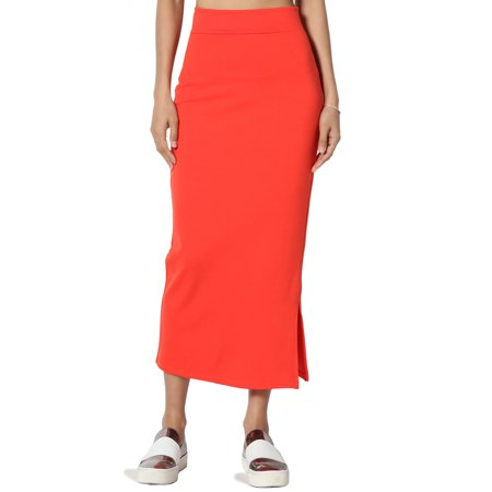 - TheMogan Women's S~3X Side Slit Ponte Knit High Waist Mid Calf Long Pencil Skirt
