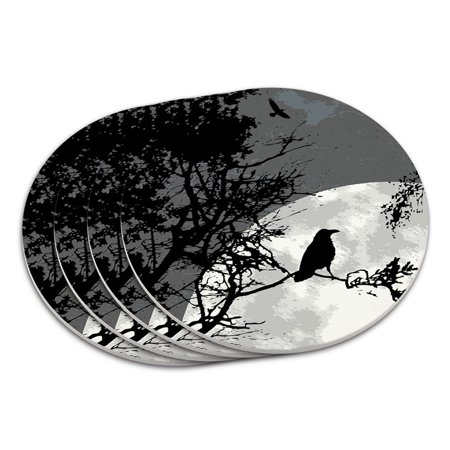 Poker Night Coasters (Raven at Night Black Bird Full Moon Coaster)