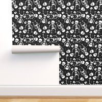 Peel-and-Stick Removable Wallpaper Skull Goth Halloween Skeleton Scary Spooky