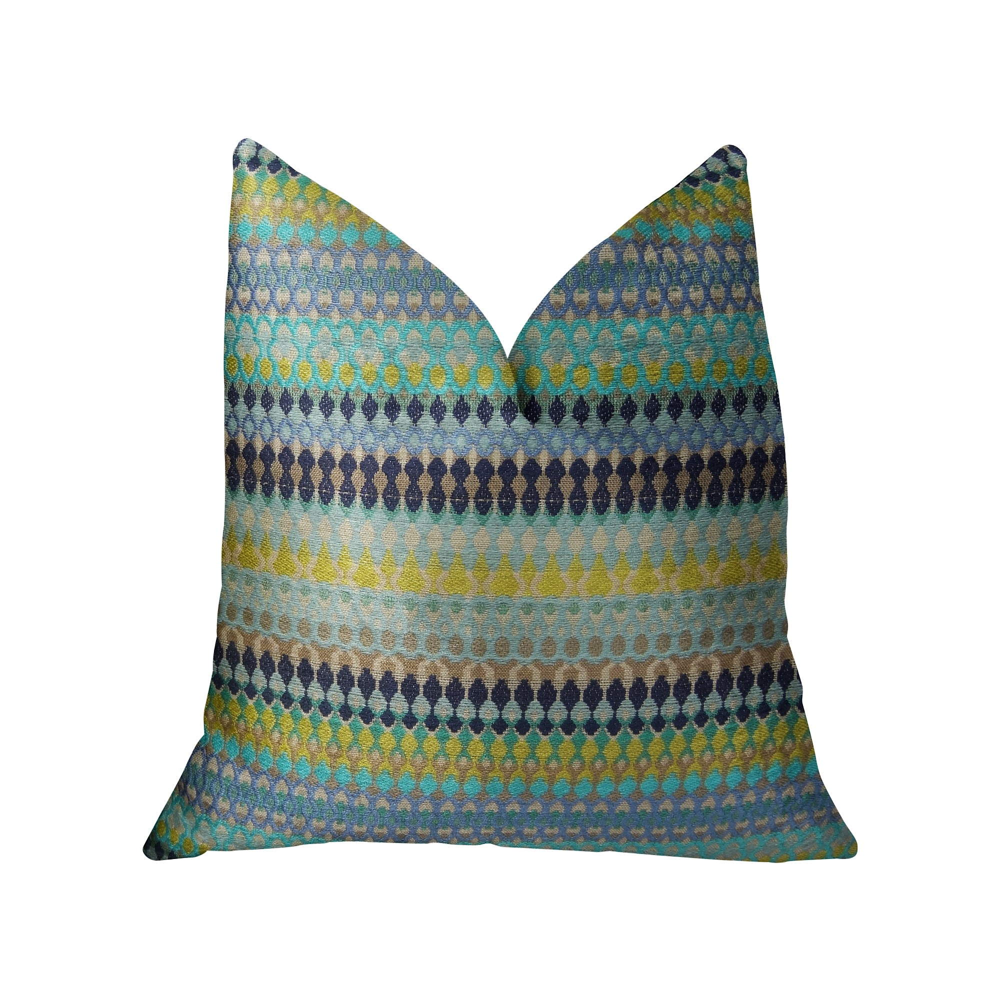 Plutus Alpenglow Turquoise Handmade Throw Pillow, Double Sided