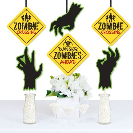 Zombie Zone - Sign and Zombie Hand Decorations DIY Halloween or Birthday Zombie Crawl Party Essentials - Set of 20 - Zombie Halloween Makeup Diy