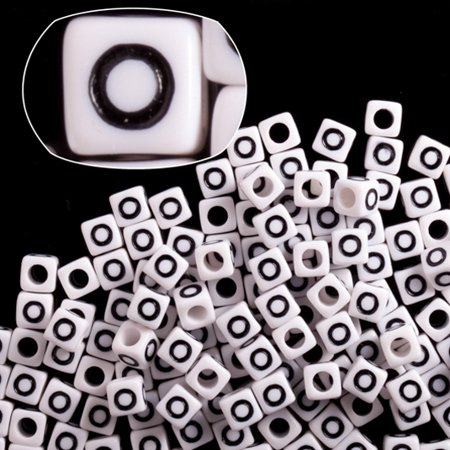 Alphabet Value Pack (Letter O White Acrylic Cube Alphabet Beads 7mm 209cnt/pack (2-pack Value Bundle), SAVE $1)