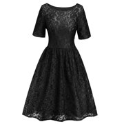 Women Lace Vintage Rockabilly Swing Dress Skater Party  Evening Retro Dress Floral Lace Bridesmaid Midi Ballgown Prom Dress