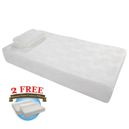 "Zimtown 10"" Three Layers Mattress Memory Foam Cool Medium Firm Queen/Twin Size White"