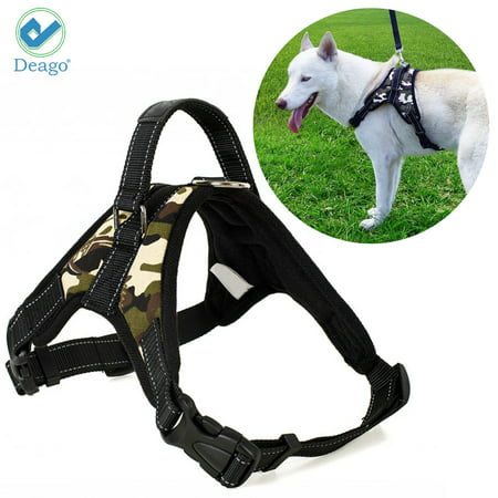 Denim Dog Harness Vest - Deago No Pull Dog Harness Reflective Safety Pet Vest Adjustable Dog Harness With Handle for Small/Medium/Large dogs Outdoor Training Walking Traveling