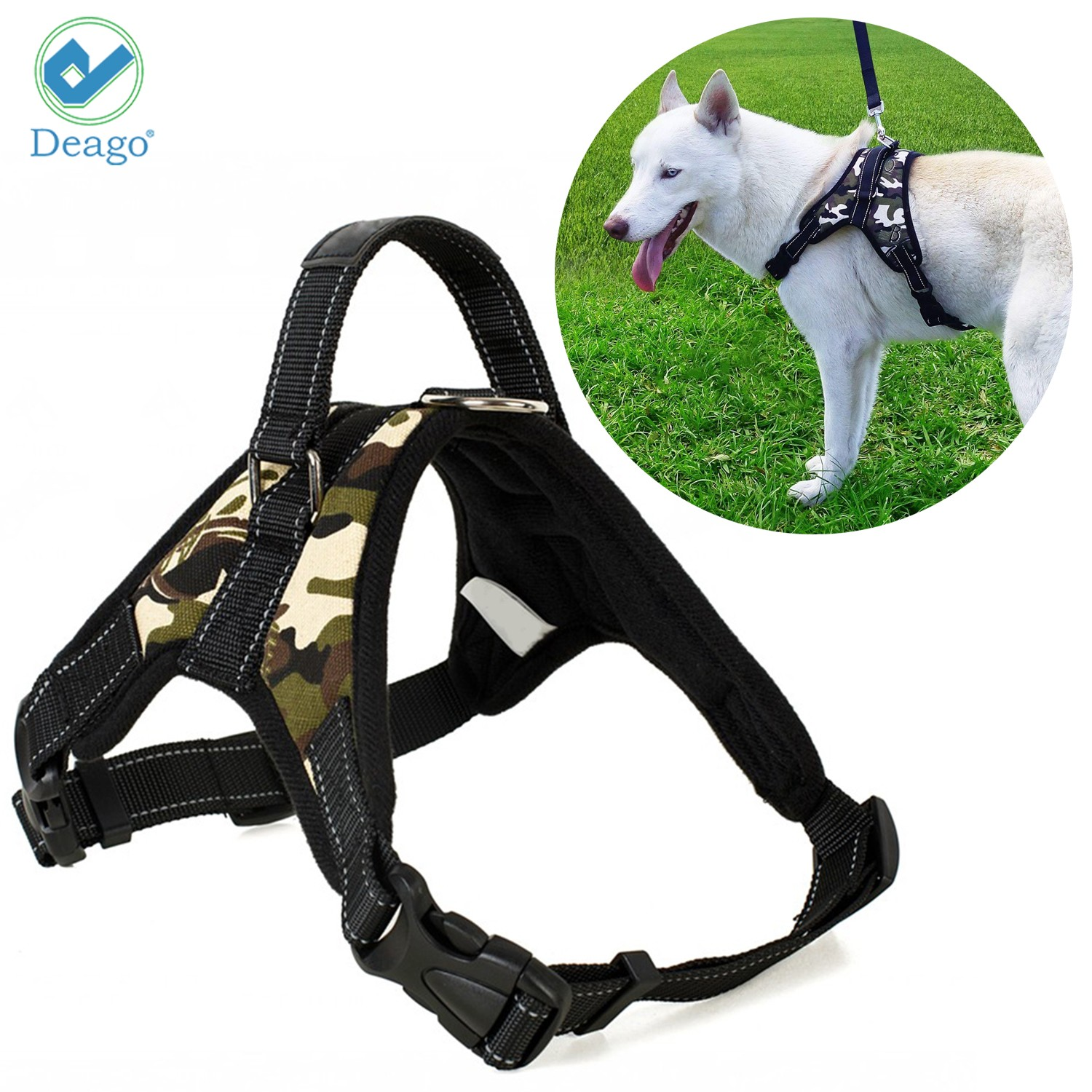 "Deago No Pull Dog Harness Reflective Safety Pet Vest Adjustable Dog Harness With Handle for Small/Medium/Large dogs Outdoor Training Walking Traveling ""Camouflage"" ""Size M"""