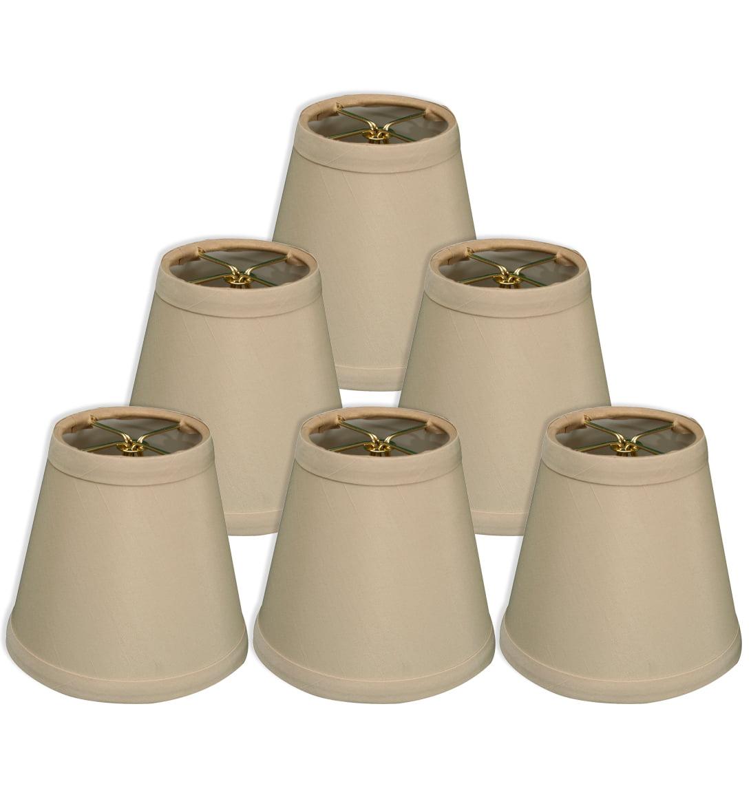 "Royal Designs 5"" Hardback Empire Chandelier Lamp Shades Set of 6 Beige"