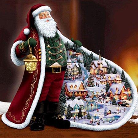 KABOER DIY 5D Diamond Painting Kit, Santa Claus Rhinestone Embroidery Cross Stitch Arts Craft for Christmas Canvas Wall Decor - Painting Christmas Crafts