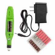 Zodaca Green Nail Art Drill KIT Electric FILE Buffer Bits Acrylic Portable Machine 6 bit Set