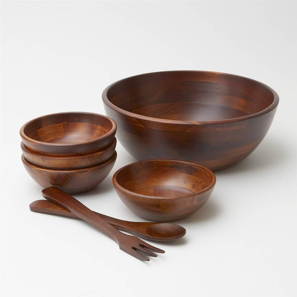 7 Pc Cherry Finish Wood Salad Bowl Set with Servers by Woodard and Charles