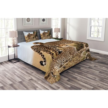Africa Bedspread Set, Cheetahs Mother and Two Young Baby Looking for Food Dangerous Exotic Animals, Decorative Quilted Coverlet Set with Pillow Shams Included, Tan Black, by Ambesonne ()